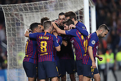 October 24, 2018 - Barcelona, Spain - Barcelona, Spain, October 24, 2018: Rafinha Alcantara of FC Barcelona celebrates  with his teammates after scoring his side's opening goal during the UEFA Champions League, Group B football match between FC Barcelona and FC Internazionale on October 24, 2018 at Camp Nou stadium in Barcelona, Spain (Credit Image: © Manuel Blondeau via ZUMA Wire)