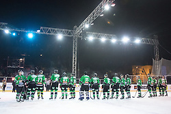 Players of Olimpija after ice hockey match between HDD Telemach Olimpija and HDD SIJ Acroni Jesenice at Winter Classic of HDD Telemach Olimpija called Pivovarna Union Ice Fest 2014, on December 18, 2014 on Republic Square, Ljubljana, Slovenia. (Photo By Matic Klansek Velej / Sportida.com)