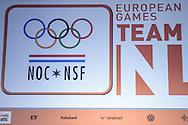 02-06-2015: Nieuws: Presentatie selectie Europese Spelen: Papendal<br /> <br /> (L-R) European Games Baku tema NL<br /> <br /> European Games Team NL bestaat tijdens de eerste editie van het evenement in Baku uit 120 topsporters. Zij komen in totaal uit in zeventien sporten en nemen deel aan 24 disciplines. Chef de mission is Jeroen Bijl<br /> <br /> NOVUM COPYRIGHT / ORANGE PICTURES / GERTJAN KOOIJ
