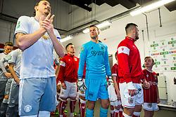Luke Steele of Bristol City looks on alongside Zlatan Ibrahimovic of Manchester United as the teams prepare to walk out - Rogan/JMP - 20/12/2017 - Ashton Gate Stadium - Bristol, England - Bristol City v Manchester United - Carabao Cup Quarter Final.