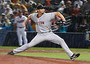 Boston pitcher Josh Beckett pitches in a strong rain storm during the game between the Atlanta Braves and the Boston Red Sox at Turner Field in Atlanta, GA on June 19, 2007..