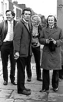 N Ireland-based journalists at unknown location, probably Belfast waiting for something to happen! November 1973. From left: Bob Renton, photographer, Daily Express; Jim Allan, reporter, Daily Telegraph,  Johnnie Walters, photographer, Daily Mail, and John Ley, reporter, Daily Express. 197211170761<br />