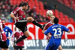05.02.2011, Arena Nuernberger Versicherungen, Nuernberg, GER, 1.FBL, 1. FC Nuernberg / Nürnberg vs Bayer 04 Leverkusen, im Bild:.Dominic Maroh (Nuernberg #6) gg Arturo Vidal (Leverkusen #23).EXPA Pictures © 2011, PhotoCredit: EXPA/ nph/  Will       ****** out of GER / SWE / CRO  / BEL ******