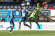 Forest Green Rovers Christian Doidge(9) heads the ball during the EFL Sky Bet League 2 match between Wycombe Wanderers and Forest Green Rovers at Adams Park, High Wycombe, England on 2 September 2017. Photo by Shane Healey.