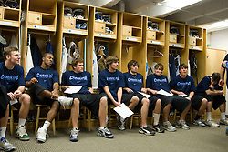 11 January 2008: North Carolina Tar Heels men's lacrosse assistant coach Greg Paradine talks to freshmen Emmit Kellar, Milton Lyles, Scott Bollert, Billy Bitter, Jamie Locke, Chris Hunt, Kevin Piegare and Ryan Flanagan about their laundry duty after a weights testing session in Chapel Hill, NC.