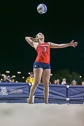 April 6, 2018 - Tucson, AZ, U.S. - TUCSON, AZ - APRIL 06: Arizona Wildcats defender Makenna Martin (2) serves the ball during a college beach volleyball match between the Arizona State Sun Devils and the Arizona Wildcats on April 06, 2018, at Bear Down Beach in Tucson, AZ. Arizona defeated Arizona State 4-1. (Photo by Jacob Snow/Icon Sportswire (Credit Image: © Jacob Snow/Icon SMI via ZUMA Press)