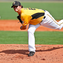 February 25, 2011; Bradenton, FL, USA; Pittsburgh Pirates starting pitcher Jeff Locke (61) during a spring training exhibition game against the State College of Florida Manatees at McKechnie Field. The Pirates defeated the Manatees 21-1. Mandatory Credit: Derick E. Hingle-US PRESSWIRE