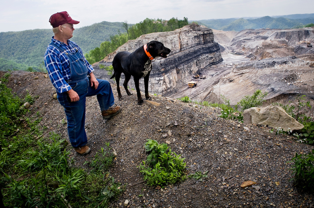 Cross country trip by Greyhound bus. ..First stop: West Virginia - mining and mountaintop removal in the Charleston area..Anti-mountaintop removal activist Larry Gibson standing on his property in Kayford Mountain looking down at what used to be a mountain...Photographer: Chris Maluszynski /MOMENT