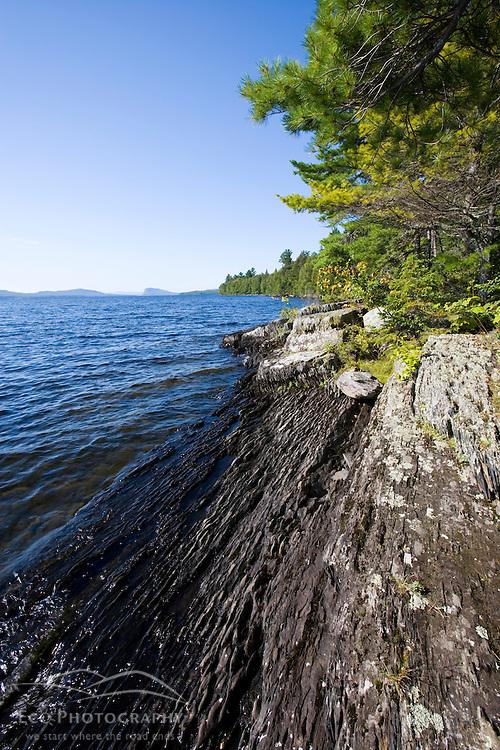 The remote northwestern shoreline of Moosehead Lake Maine USA
