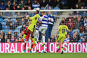 Rotherham United defender Semi Ajayi (15) wins header in QPR box during the EFL Sky Bet Championship match between Queens Park Rangers and Rotherham United at the Loftus Road Stadium, London, England on 18 March 2017. Photo by Matthew Redman.
