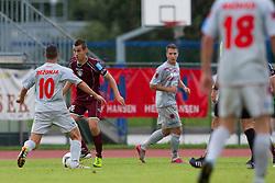 Sustersic Martin of NK Triglav vs Rezonja Gregor of Aluminij during football match between NK Triglav Kranj and Aluminij, 2nd Round of Prva Liga, on 22 July, 2012, in Sportni center, Kranj, Slovenia. (Photo by Grega Valancic / Sportida)