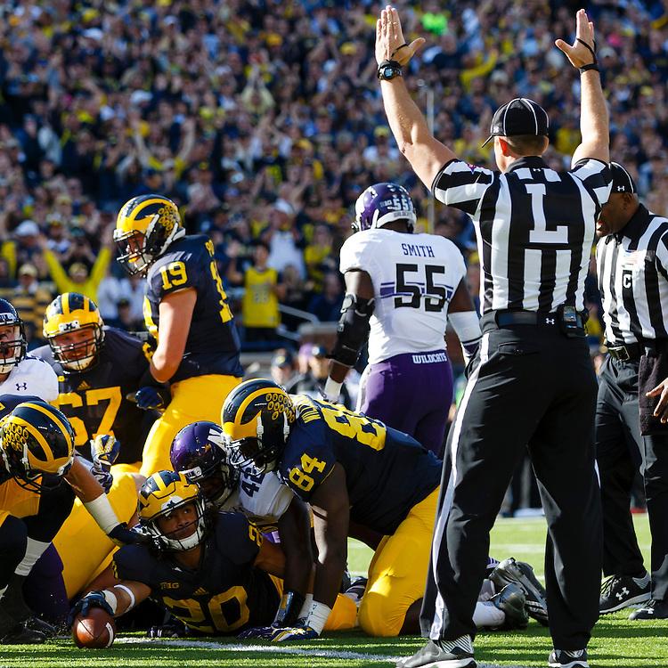 Oct 10, 2015; Ann Arbor, MI, USA; Michigan Wolverines running back Drake Johnson (20) rushes for a touchdown in the first quarter against the Northwestern Wildcats at Michigan Stadium. Mandatory Credit: Rick Osentoski-USA TODAY Sports