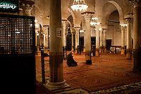 Kairouan, Tunisia - 18 December, 2011: Said Ferjani, 57, senior member of the political and communication bureau of the Nahda (Renaissance) party, prays at dawn at the  Great Mosque of Sidi-Uqba in Kairouan, Tunisia on 18 December, 2011. In the 24 October 2011 Tunisian Constituent Assembly election, the first elections since the Tunisian Revolution, the party won 40% of the vote, and 89 of the 217 assembly seats, far more than any other party. Said Ferjani started his activism in the Negra mosque of his hometown Kairouan when he was 16 years old, debating on politics, philosophy, economy and world events. In 1989 former dictator Zine El Abidine Ben Ali turned against Nahda (or Ennahda) and jailed 25,000 activists. Said Ferjani was jailed and tortured. He then flew Tunisia and moved to the UK. He came back to Tunisia after 22 years, after former dictator Ben Ali flew the country.<br /> <br /> Gianni Cipriano for The New York Times