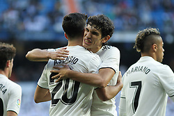 December 6, 2018 - Madrid, Madrid, Spain - Asensio and Vallejo of Real Madrid celebrating a goal during the King Throphy Spanish Championship,  football match between Real Madrid and Melilla on December 06, 2018 at Santiago Bernabeu stadium  in Madrid, Spain. (Credit Image: © AFP7 via ZUMA Wire)