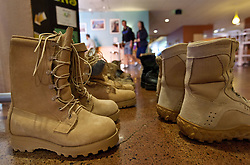 Military boots on display as part of Operation: 23 to Zero - an effort to curb veteran and military suicide through awareness and providing a network of fellow military members to connect with for help and support. - on display at the Anderson University Center at PLU on  Tuesday, Sept. 29, 2015. (Photo/John Froschauer)