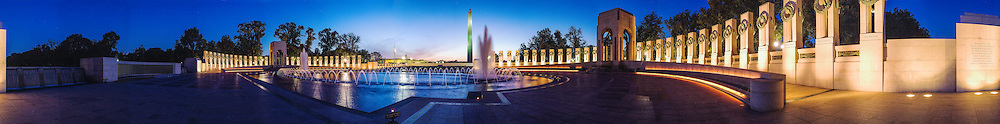 A Panorama of the World War Two Memorial at dawn in Washington DC