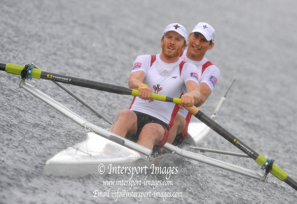 Lucerne, SWITZERLAND. CAN M2-, Bow, Dave CALDER and Scott FRANDSEN,  move away from the start in a Alpine rain storm, during their afternoon semi final, in the men's pair,  at the  2008 FISA World Cup Regatta, Round 2.  Lake Rotsee, on Saturday, 31/05/2008.  [Mandatory Credit:  Peter Spurrier/Intersport Images].Lucerne International Regatta. Rowing Course, Lake Rottsee, Lucerne, SWITZERLAND.