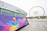 Picture by Allan McKenzie/SWpix.com / www.photosport.nz - 12/07/2018 - Netball - Netball World Cup 2019 One Year to Go - ACC Liverpool, Liverpool, England - Netball World Cup, Echo Arena, branding.
