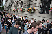 The queus stretch around the building. Jeremy Corbyn holds a campaign meeting as part of his Labour Party leadership challenge - with support of Ken Livingstone at the Camden Town Hall, London, UK 03 Aug 2015