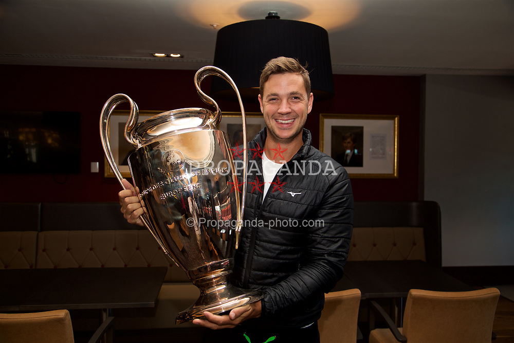 LIVERPOOL, ENGLAND - Sunday, June 18, 2017: Marcus Willis with the European Cup on a visit Anfield during Day Four of the Liverpool Hope University International Tennis Tournament 2017. (Pic by David Rawcliffe/Propaganda)