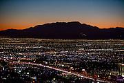 Aerial view of Las Vegas city at night, Nevada, USA
