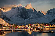 The small settlement Reine at Moskenesöya, Lofoten, Norway in February 2013.  This is regarded one of the most scenic places in Norway.