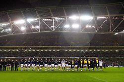 The Bath Rugby team lines-up prior to kick off - Mandatory byline: Patrick Khachfe/JMP - 07966 386802 - 15/12/2018 - RUGBY UNION - Aviva Stadium - Dublin, Republic of Ireland - Leinster Rugby v Bath Rugby - Heineken Champions Cup