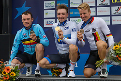 Podium with 1st VIVIANI Elia from ITALY, 2nd LAMPAERT Yves from BELGIUM and 3rd ACKERMANN Pascal from GERMANY after Men Elite Road Race 2019 UEC European Road Championships, Alkmaar, The Netherlands, 11 August 2019. <br /> <br /> Photo by Thomas van Bracht / PelotonPhotos.com <br /> <br /> All photos usage must carry mandatory copyright credit (Peloton Photos | Thomas van Bracht)