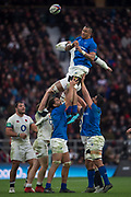 Twickenham, Surrey. UK.  Piula FAASALELE, redirects the line out ball, during the England vs Samoa, Autumn International. Old Mutual Wealth Series. RFU Stadium, Twickenham. Surrey, England.<br /> <br /> Saturday  25.11.17  <br /> <br /> [Mandatory Credit Peter SPURRIER/Intersport Images]
