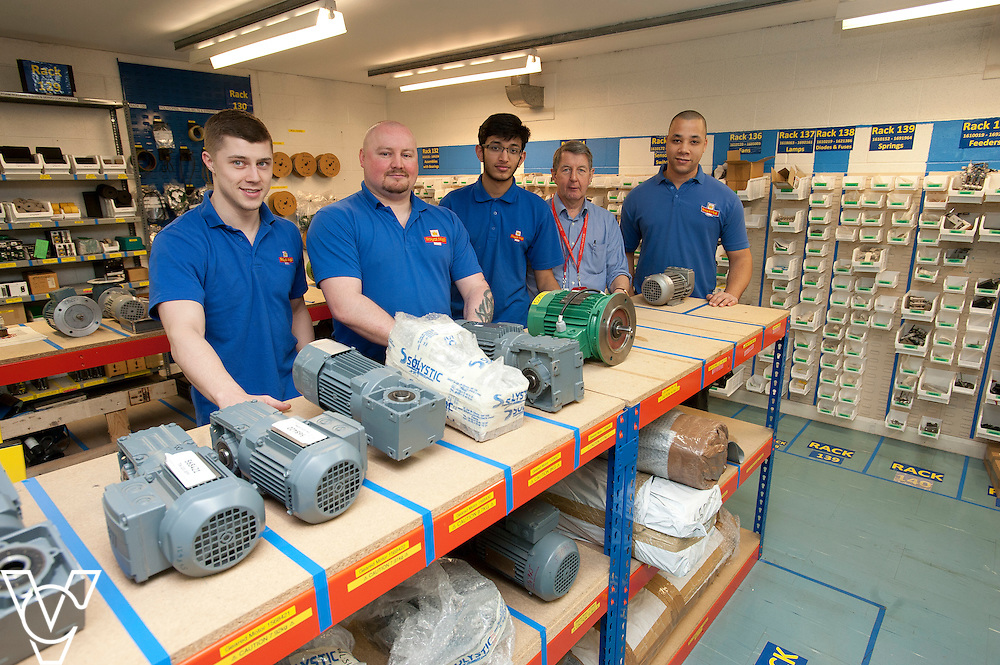 Royal Mail - Preston Mail Centre: <br /> <br /> Pictured, from left, is Elliot Mercer, professional maintenance lead Alan Willis, Adam Desai, Graham Mathews and Tom Grant in the replenishment stores area which has been re-arranged to help productivity <br /> <br /> Date: March 16, 2015