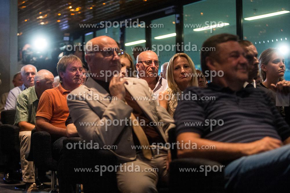 Ivo Daneu and Bojan Krizaj during 2015 Slovenia Hall of Fame induction ceremony, on August 27, 2015 in Arena Stozice, Ljubljana, Slovenia. Photo by Grega Valancic / Sportida