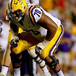 Sep 21, 2013; Baton Rouge, LA, USA; LSU Tigers offensive tackle La'el Collins (70) against the Auburn Tigers during the second half of a game at Tiger Stadium. LSU defeated Auburn 35-21. Mandatory Credit: Derick E. Hingle-USA TODAY Sports
