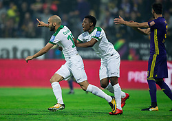 Dario Canadzija of NK Olimpija and Abass Issah of NK Olimpija celebrate after scoring first goal for Olimpija during football match between NK Maribor and NK Olimpija Ljubljana in 34th Round of Prva liga Telekom Slovenije 2017/18, on May 19, 2018, in Stadion Ljudski vrt, Maribor, Slovenia. Photo by Vid Ponikvar / Sportida