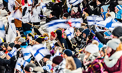 04.03.2017, Lahti, FIN, FIS Weltmeisterschaften Ski Nordisch, Lahti 2017, Skisprung Herren, Team, im Bild Zuschauer mit Flaggen Finnlands // <br /> Spectators with flags of Finland during Mens Team Skijumping of FIS Nordic Ski World Championships 2017. Lahti, Finland on 2017/03/04. EXPA Pictures © 2017, PhotoCredit: EXPA/ JFK
