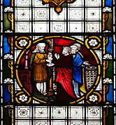 Stained glass in north transept window depicting biblical scenes by Clayton and Bell, undated, Judas accepting 30 pieces of silver in return for betraying Christ, church of Saint Mary, Potterne, Wiltshire, England