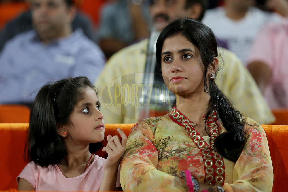Sunrisers Hyderabad Coach VVS Laxman's wife GR Sailaja and his daughter Achinthya Laxman during match 42 of the Vivo IPL 2016 (Indian Premier League ) between the Sunrisers Hyderabad and the Delhi Daredevils held at the Rajiv Gandhi Intl. Cricket Stadium, Hyderabad on the 12th May 2016<br /> <br /> Photo by Faheem Hussain / IPL/ SPORTZPICS