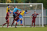 Croydon Athletic goalkeeper Daniel Burnett punches ball away during the Southern Counties East match between AFC Croydon Athletic and Hollands & Blair at the Mayfield Stadium, Croydon, United Kingdom on 10 October 2015. Photo by Mark Davies.