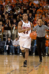 Virginia guard Sean Singletary (44) dribbles up court against GT.  The Virginia Cavaliers men's basketball team fell to the Georgia Tech Yellow Jackets 92-82 in overtime at the John Paul Jones Arena in Charlottesville, VA on January 27, 2008.