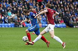 Jack Marriott of Peterborough United is clipped by Ash Taylor of Northampton Town resulting in a red card for the Northampton Town player - Mandatory by-line: Joe Dent/JMP - 02/04/2018 - FOOTBALL - ABAX Stadium - Peterborough, England - Peterborough United v Northampton Town - Sky Bet League One