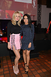 Left to right, PIXIE LOTT and DIONNE BROMFIELD at the YSL Beauty: YSL Loves Your Lips party held at The Boiler House,The Old Truman Brewery, Brick Lane,London on 20th January 2015.