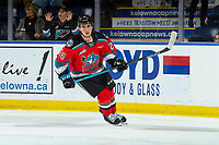 KELOWNA, BC - OCTOBER 12:  Liam Kindree #26 of the Kelowna Rockets warms up on the ice against the Kamloops Blazers at Prospera Place on October 12, 2019 in Kelowna, Canada. (Photo by Marissa Baecker/Shoot the Breeze)