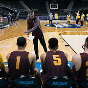 Loyola University Chicago Head Coach Porter Moser talks with his players during a shoot-around practice before taking on Kansas State in the Elite Eight game of the NCAA Tournament at Philips Arena in Atlanta, GA., on March 24, 2018. (Photo: Lukas Keapproth)