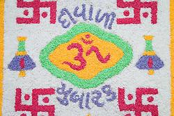Diwali; Festival of Light; Rangoli art made from rice,