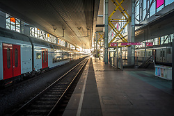 March 18, 2020, Gent, Belgium: The almost empty train station in the Flemish city of Gent. Coronavirus (Covid-19) has spread countrywide, with new regulations for train public transportation. Belgian residents must stay at home from midday on March 18 to prevent the spread of the coronavirus, only allowed to go out for food or medical care. Prime Minister Sophie Wilmes asked people to work from home if possible. (Credit Image: © Jonathan Raa/Pacific Press via ZUMA Wire)