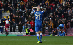 Marcus Maddison of Peterborough United cuts a dejected figure after Bradford City score their second goal of the game - Mandatory by-line: Joe Dent/JMP - 09/03/2019 - FOOTBALL - Northern Commercials Stadium - Bradford, England - Bradford City v Peterborough United - Sky Bet League One