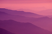 Afternoon haze over the Sierra Nevada foothills from Moro Rock, Sequoia National Park, California USA