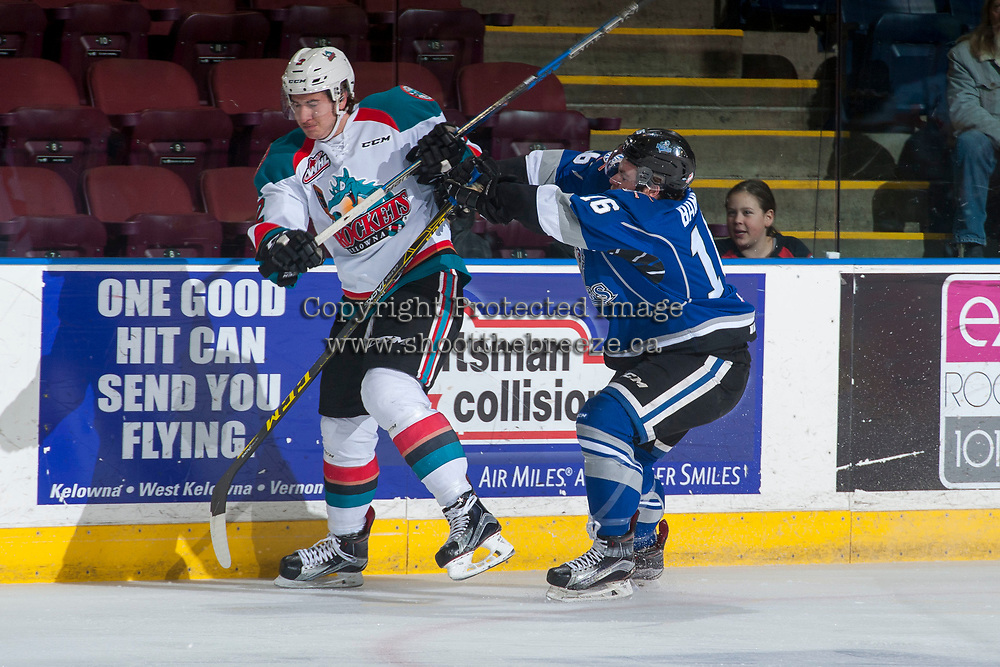 KELOWNA, CANADA - MARCH 7: Blake Bargar #16 of the Victoria Royals back checks James Hilsendager #2 of the Kelowna Rockets on March 7, 2017 at Prospera Place in Kelowna, British Columbia, Canada.  (Photo by Marissa Baecker/Shoot the Breeze)  *** Local Caption ***
