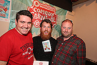 repro free: Vodafone Comedy Carnival : <br /> <br /> Pictured at the launch of the Vodafone Comedy Carnival in the Roisin Dubh were Kevin Healy,  Steve Bennet and Fred Cooke. The 2016 Vodafone Comedy Carnival runs as part of Vodafone&rsquo;s Centre Stage and is sure to fill the &lsquo;Eyre&rsquo; with laughter with performances from international and home grown comedians over the October bank holiday weekend (25th to 31st of October). Shows will take place in multiple venues across the city, including the brand new venue &lsquo;The Red Box&rsquo; at Eyre Square. Tickets on sale from Monday 29th August. For more for info go to  HYPERLINK &quot;http://www.vodafonecomedycarnival.com&quot; www.vodafonecomedycarnival.com&nbsp; <br /> Photo: xposure.
