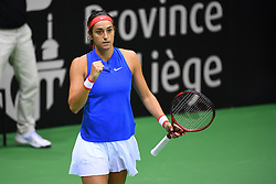 February 9, 2019 - Liege, BELGIQUE - LIEGE, BELGIUM - FEBRUARY 9 : Alison VAN UYTVANCK (BEL) vs Caroline GARCIA (FRA) pictured during the World Group First Round Fed Cup Game between Belgium and France on February 09, 2019 in Liege, Belgium, 9/02/2019 (Credit Image: © Panoramic via ZUMA Press)