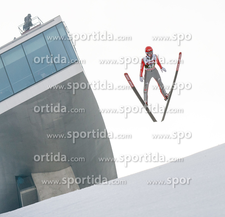 03.01.2015, Bergisel Schanze, Innsbruck, AUT, FIS Ski Sprung Weltcup, 63. Vierschanzentournee, Innsbruck, Training, im Bild Stephan Layhe (GER) // Stephan Leyhe of Germany soars through the air during a training session for the 63rd Four Hills Tournament of FIS Ski Jumping World Cup at the Bergisel Schanze in Innsbruck, Austria on 2015/01/03. EXPA Pictures © 2015, PhotoCredit: EXPA/ Jakob Gruber